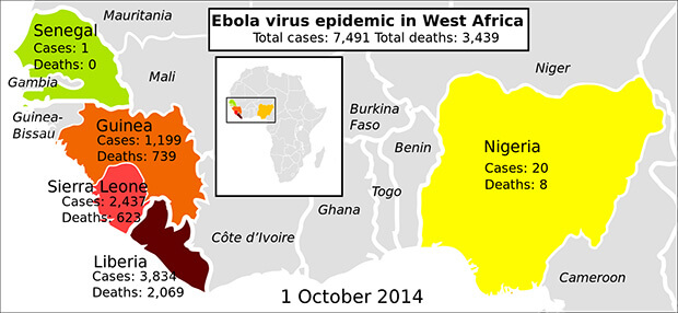 Ebola Situation Map of the Outbreak 2014