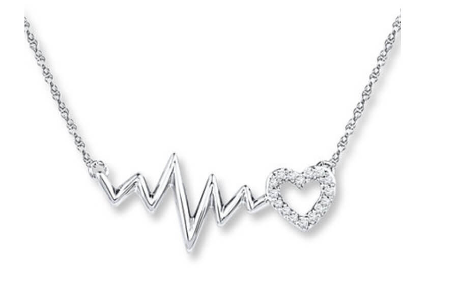 Heartbeat Necklace with Diamonds