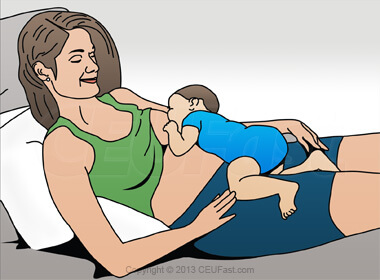 Laid Back or Biologic Nurturing Hold Breastfeed Position