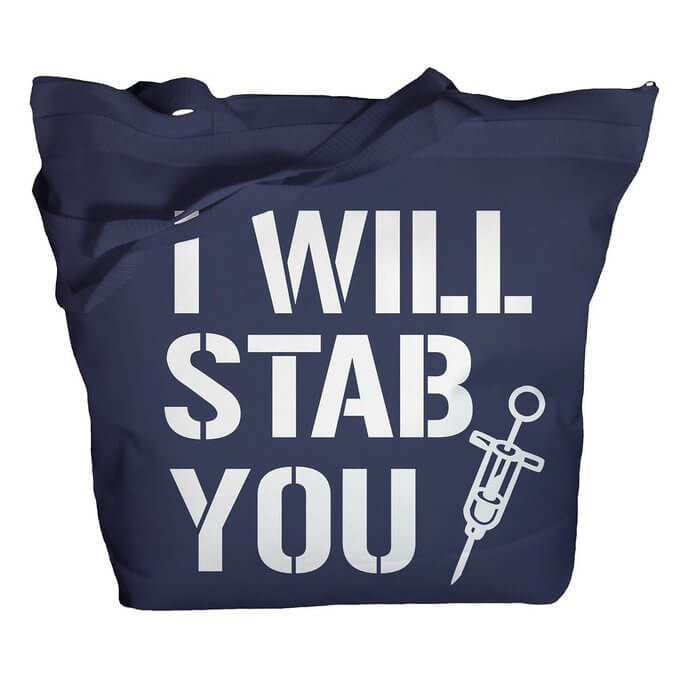 navy blue nurse tote bag i will stab you